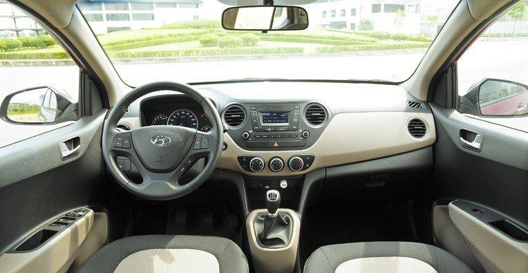 Nội thất của Hyundai Grand i10 được phối màu trang nhã mang lại cảm giác êm dịu.