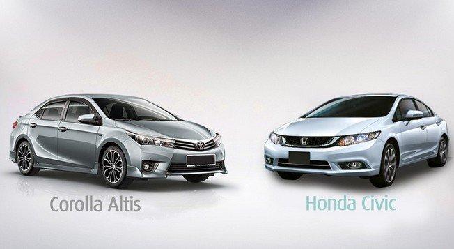 Toyota Colora Altis và Honda Civic là hai mẫu xe thuộc phân khúc sedan hạng C được nhiều người tiêu dùng chú ý.