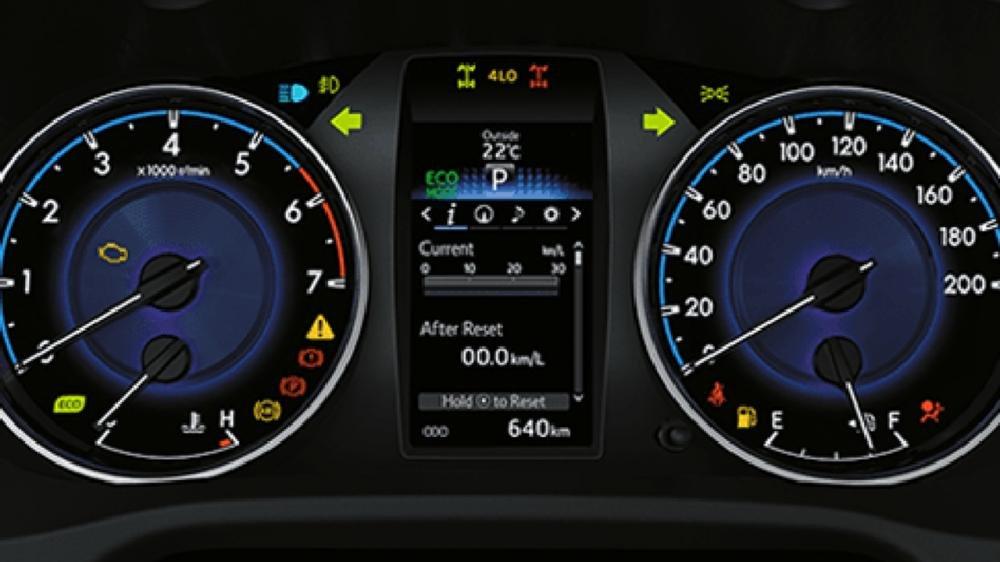Cụm đòng hồ lái của  Ford Ranger (trái) và Toyota Hilux (phải).