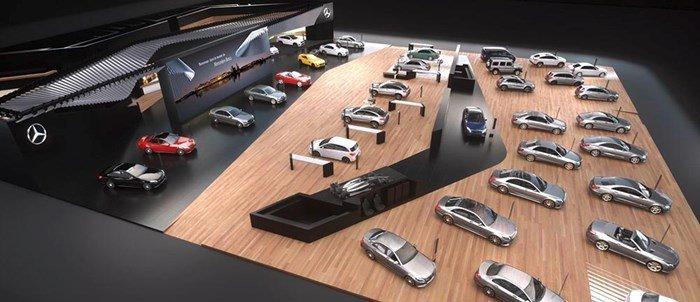 Tại triển lãm ô tô Geneva Motor Show 2016, gian hàng của Mercedes-Benz được thiết kế mang chủ đề Silver Flow/
