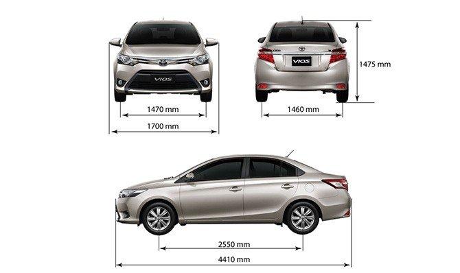 So sánh xe Toyota Vios 2015 và Mazda 2 2015: Vios có kích thước tổng thể trội hơn.