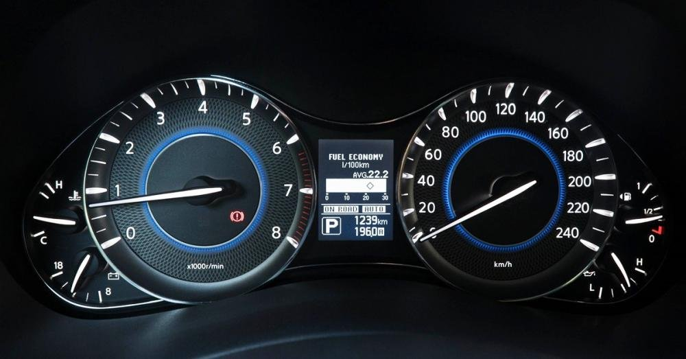 Đánh giá xe Infiniti QX80 2015 có đồng hồ hiển thị hiện đại, ánh sáng dịu mắt.