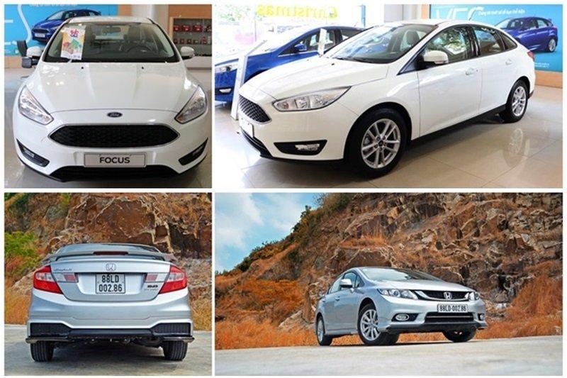 So sánh ngoại thất xe Ford Focus và Honda Civic 2