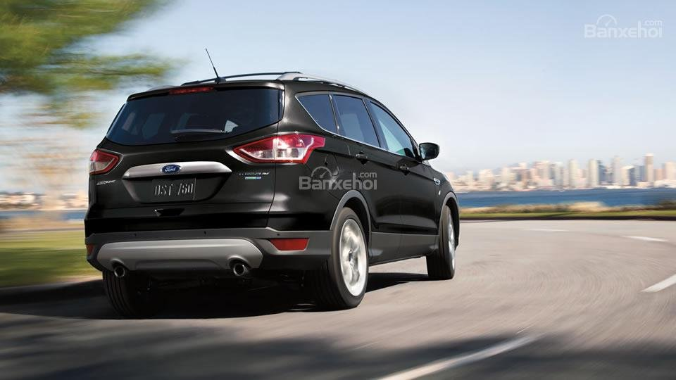 Đánh giá xe Ford Escape 2016 có đèn phanh phụ trên cánh gió và ăng ten chiếc đũa trên nóc.