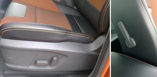 Đánh giá xe Ford Ranger Wildtrak 2015 có ghế lái chỉnh điện 8 hướng.