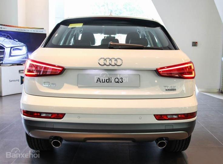 Đánh giá xe Audi Q3 2016 phần đuôi được thiết kế bo tròn mềm mại hơn.
