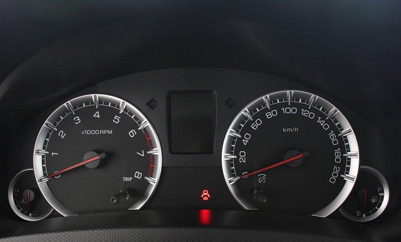 Đánh giá xe Suzuki Swift 2014 có cụm đồng hồ lái đơn giản.