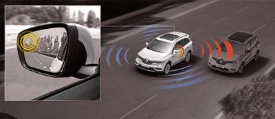 Đánh giá xe Renault Koleos 2017 có tính năng cảnh báo điểm mù qua gương chiếu hậu.