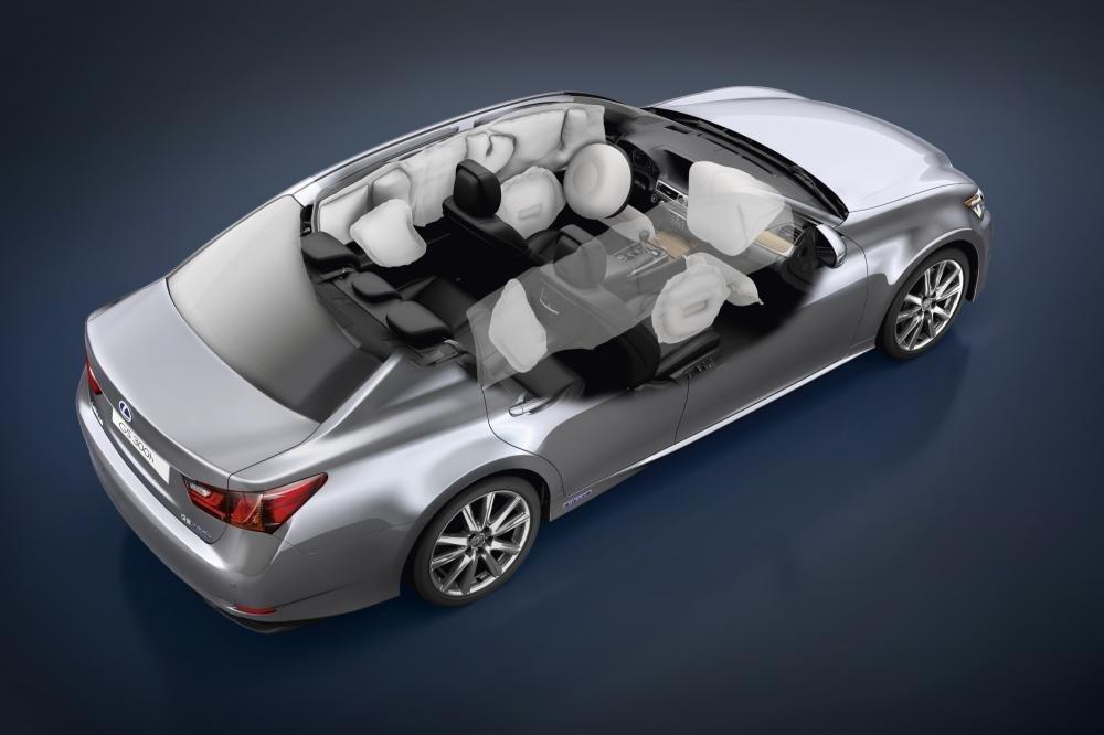 Các vị trí thường được trang bị túi khí trên xe ô tô.