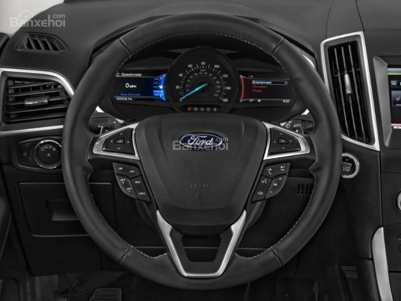 Đánh giá xe Ford Edge 2017: Vô lăng bọc da.