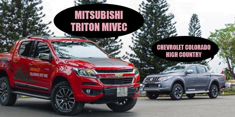 So sánh xe Mitsubishi Triton MIVEC 2017 và Chevrolet Colorado High Country 2017 - Bán tải thời đại mới và cũ.