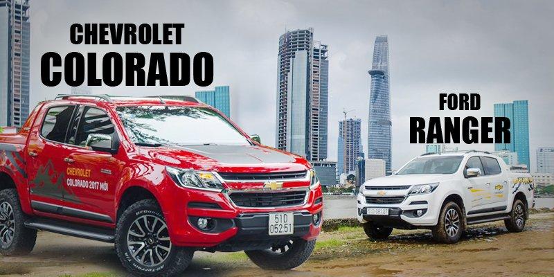"""So sánh xe Chevrolet Colorado 2017 và Ford Ranger 2017 - Vua bán tải gặp """"đối""""."""