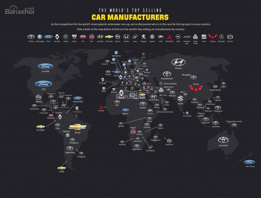 Chi tiết các nhà sản xuất ô tô bán chạy nhất trên thế giới.