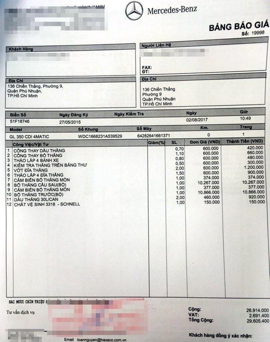 Một phiếu báo giá sửa chữa của đại lý Mercedes-Benz.