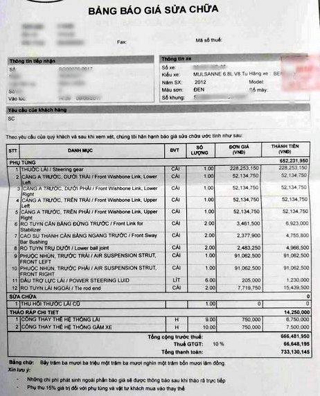 Số tiền sửa chiếc Bentley Mulsanne của nhà giàu Việt có thể mua được một chiếc xe mới hạng trung.