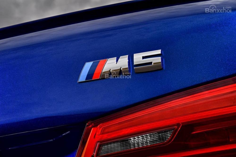 Đánh giá xe BMW M5 2018: Logo phía đuôi xe.