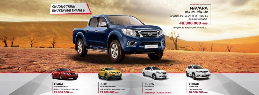 Tháng 9/2017: Mua bán tải Nissan Navara nhận ngay ưu đãi đến 50 triệu đồng.