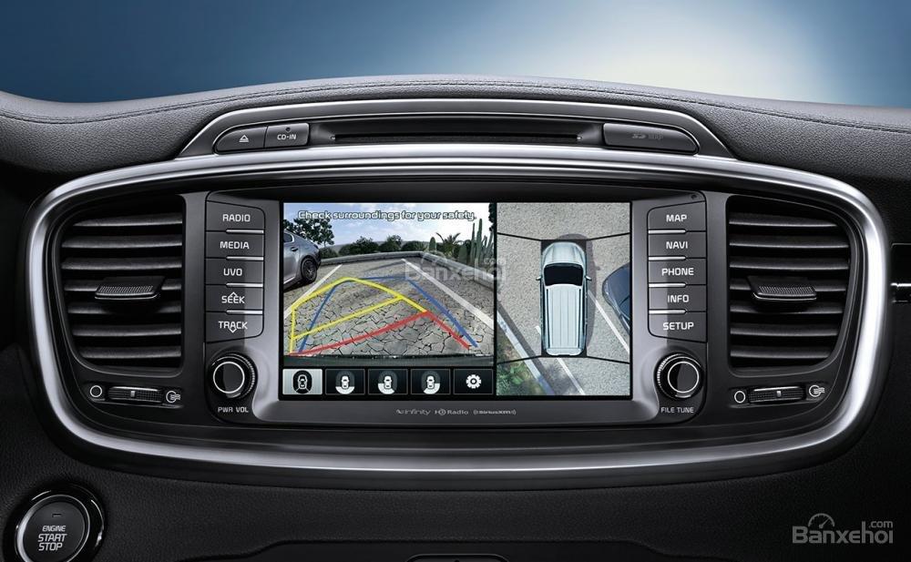 Đánh giá xe Kia Sorento 2018: Xe được trang bị camera lùi.