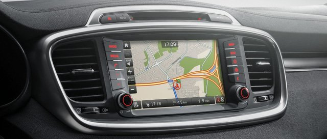 Đánh giá xe Kia Sorento 2018: Xe được tích hợp bản đồ.