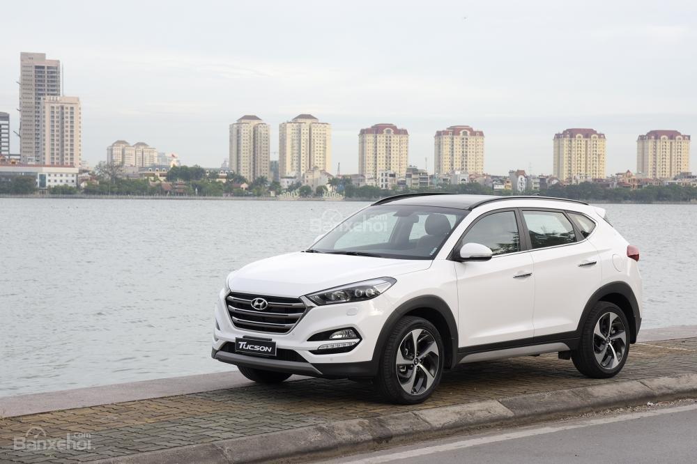 Hyundai Tucson màu trắng chụp từ phía trước