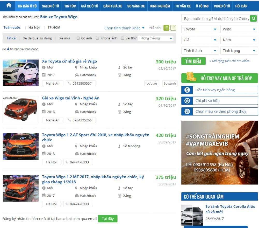 Giá bán xe Toyota Wigo 2018