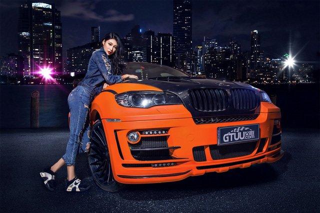 """Người đẹp """"chất lừ"""" bên xe độ BMW X6 a9"""