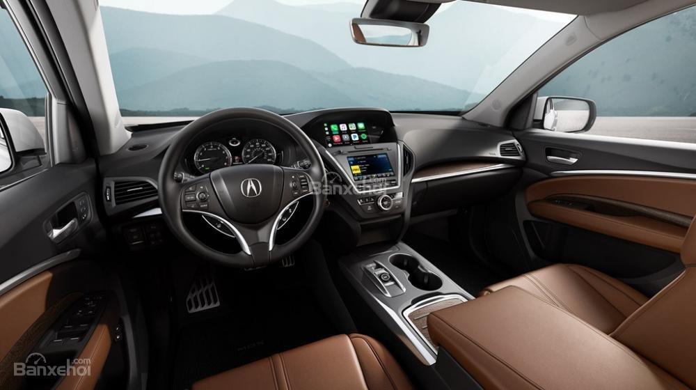Khoang nội thất Acura MDX 2018 thể hiện phong cách thiết kế đơn giản không kém phần sang trọng..