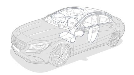 Đánh giá xe Mercedes-Benz CLA-Class 2018: Xe được trang bị 7 túi khí an toàn.