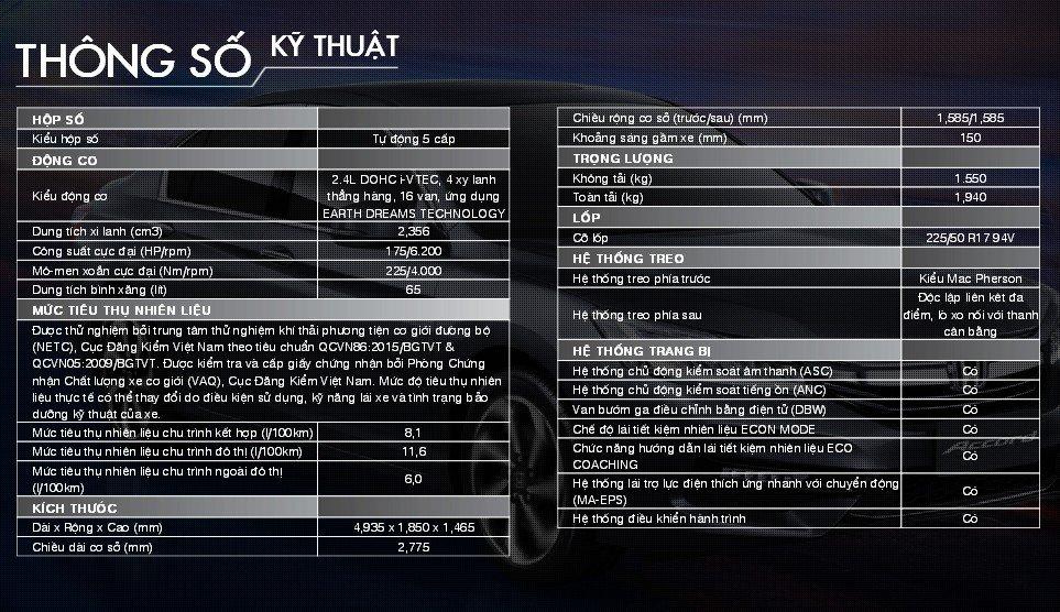 Thông số kỹ thuật xe Honda Accord sang trọng.