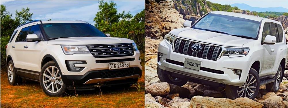 So sánh xe Toyota Land Cruiser Prado 2018 và Ford Explorer 2018 về thiết kế ngoại thất.