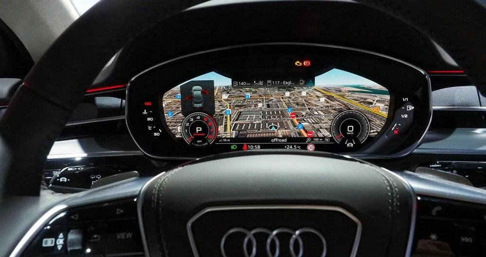 Ảnh chụp cụm đồn hồ sau vô-lăng xe Audi A8 2018