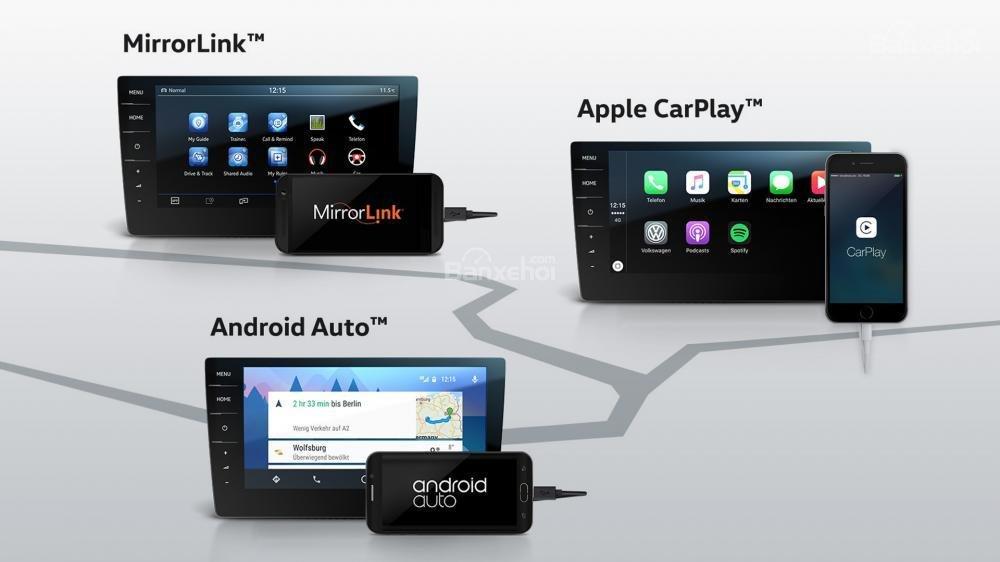 Đánh giá xe Volkswagen Tiguan Allspace 2018: Hệ thống Car-Net hỗ trợ kết nối với điện thoại.