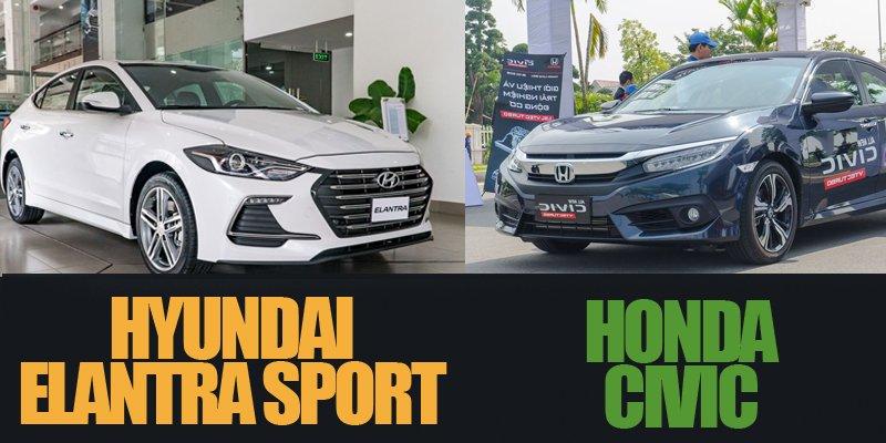 Mua sedan hạng C, nên chọn Hyundai Elantra Sport 2018 hay Honda Civic 2018 cho phải?.