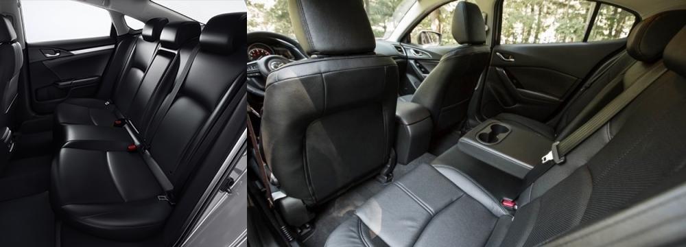 So sánh xe Mazda3 2.0L 2018 và Honda Civic 1.8E 2018 về ghế xe