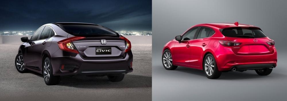 So sánh xe Mazda3 2.0L 2018 và Honda Civic 1.8E 2018 về đuôi xe