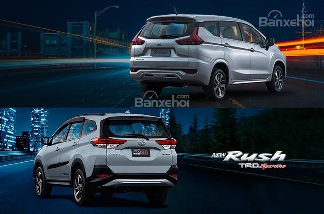 So sánh xe Mitsubishi Xpander 2018 và Toyota Rush 2018 về đuôi xe a1
