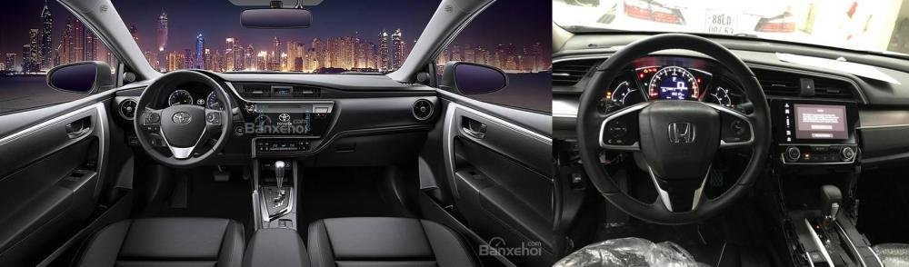 So sánh xe Honda Civic 1.8E 2018 và Toyota Corolla Altis 1.8G 2018 về không gian nội thất