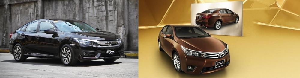 So sánh xe Honda Civic 1.8E 2018 và Toyota Corolla Altis 1.8G 2018 về thiết kế