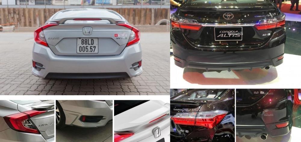 So sánh xe Honda Civic 1.8E 2018 và Toyota Corolla Altis 1.8G 2018 về đuôi xe