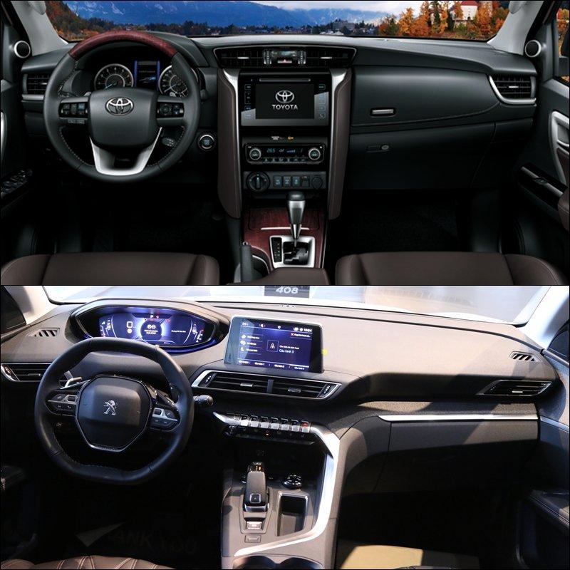 So sánh xe Toyota Fortuner 2018 và Peugeot 5008 2018 về không gian.