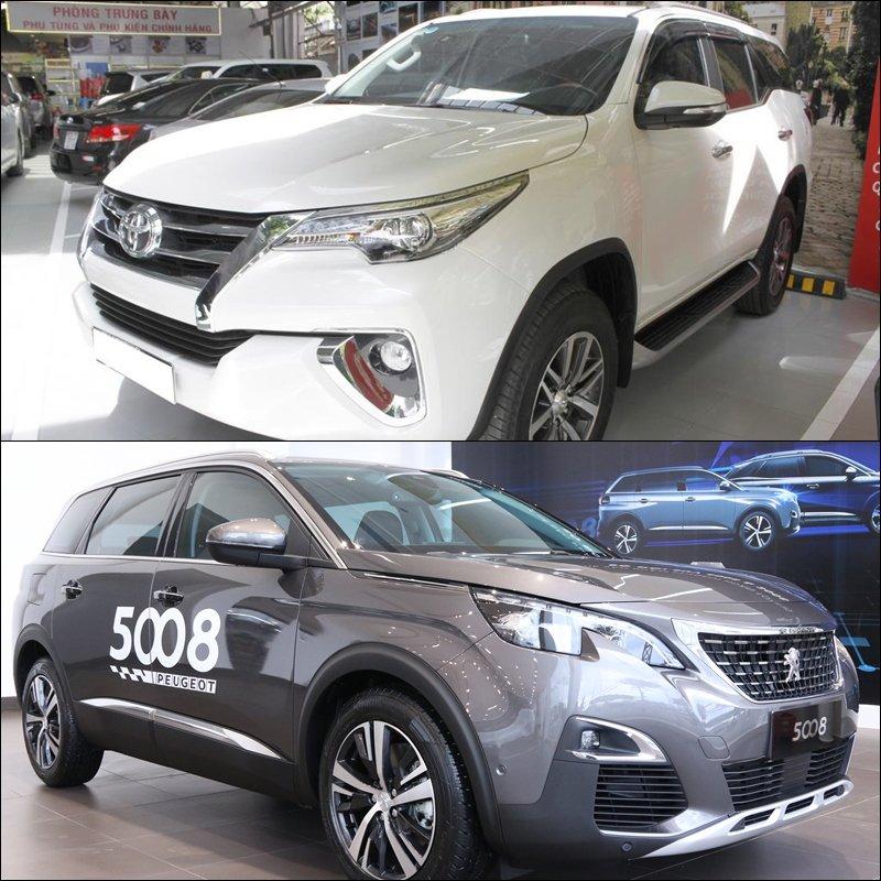So sánh xe Toyota Fortuner 2018 và Peugeot 5008 2018: Xe kinh doanh và xe gia đình.