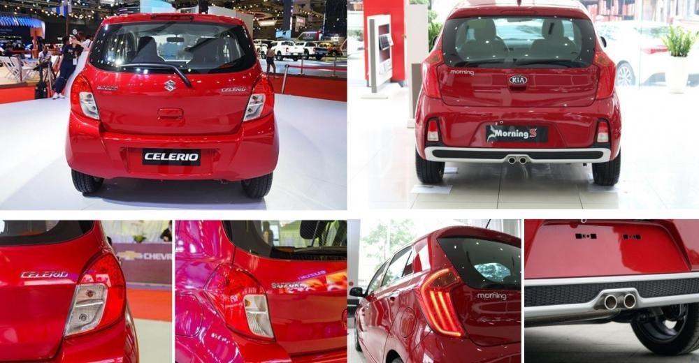 So sánh xe Suzuki Celerio 2018 và Kia Morning S 2018 về đuôi xe