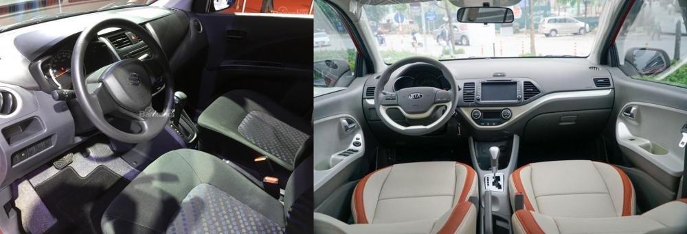 So sánh xe Suzuki Celerio 2018 và Kia Morning S 2018 về không gian xe