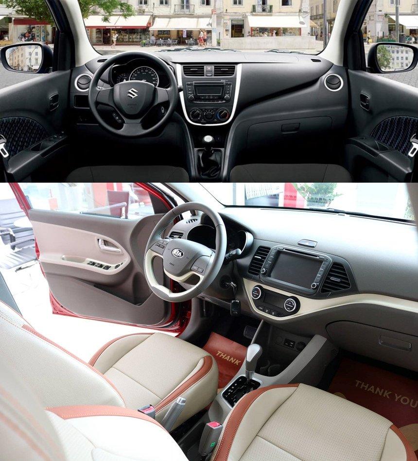 So sánh xe Suzuki Celerio 2018 và Kia Morning S 2018 về vô lăng