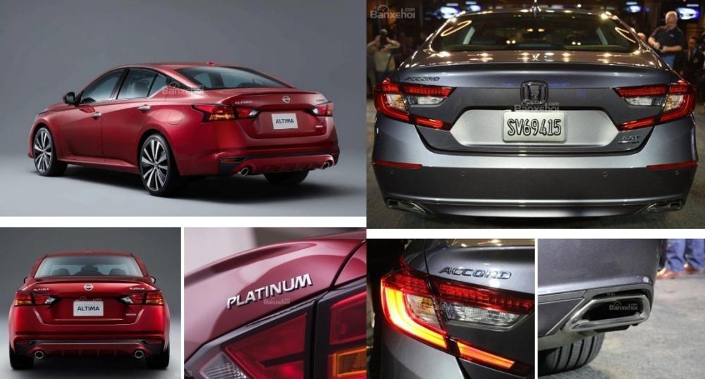 So sánh xe Nissan Altima 2019 và Honda Accord 2018 về đuôi xe