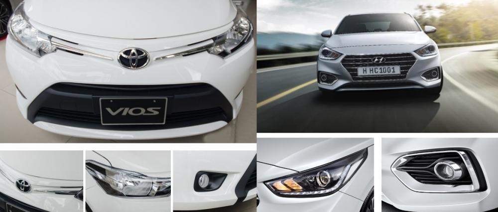 So sánh xe Hyundai Accent 2018 phiên bản 1.4AT đặc biệt và Toyota Vios 1.5G CVT 2018 về đầu xe