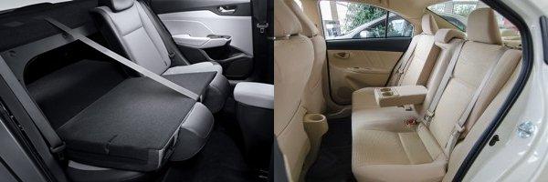 So sánh xe Hyundai Accent 2018 phiên bản 1.4AT đặc biệt và Toyota Vios 1.5G CVT 2018 về ghế xe
