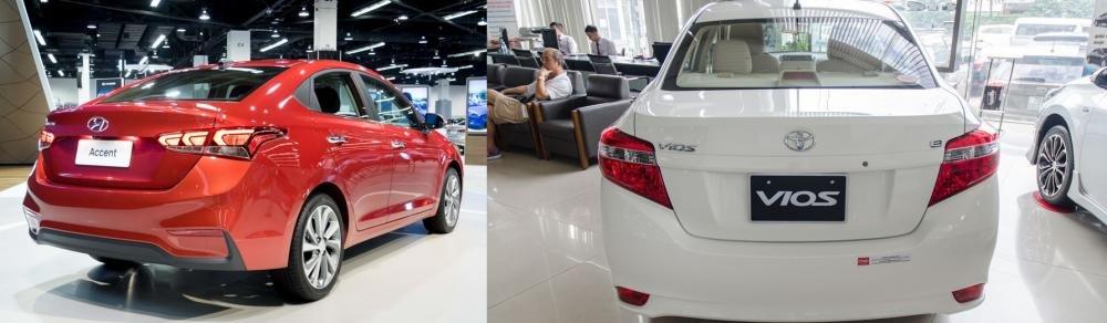 So sánh xe Hyundai Accent 2018 phiên bản 1.4AT đặc biệt và Toyota Vios 1.5G CVT 2018 về đuôi xe