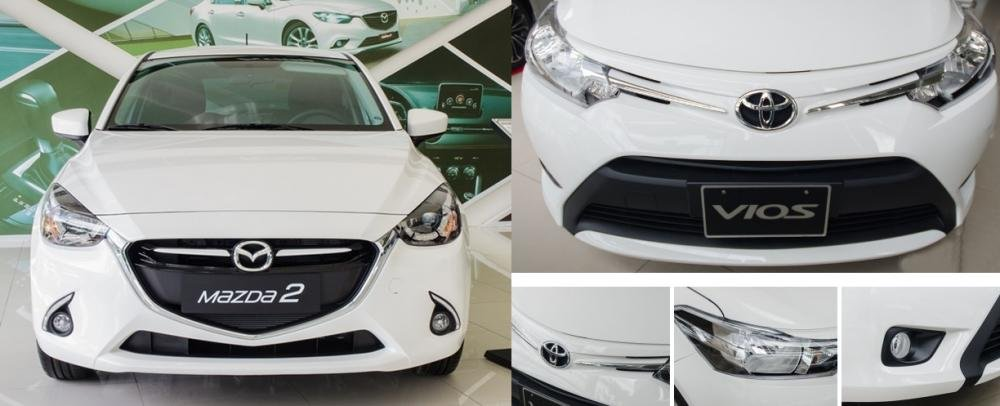 So sánh xe Mazda2 2018 và Toyota Vios 2018 về đầu xe