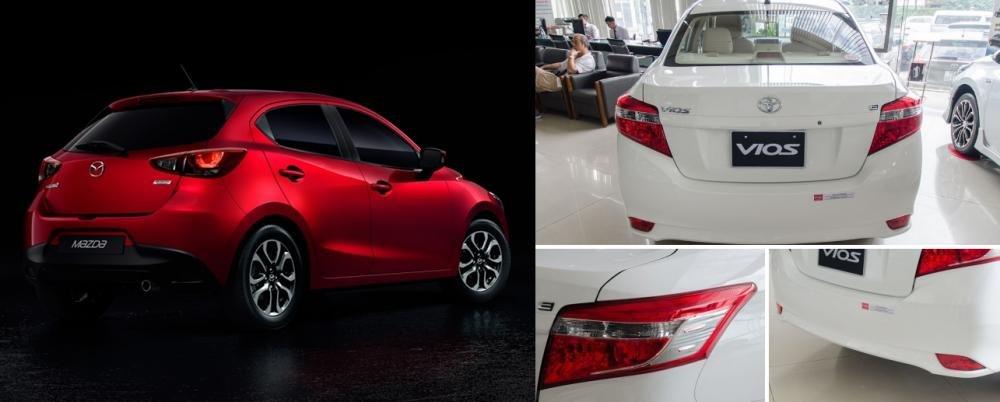So sánh xe Mazda2 2018 và Toyota Vios 2018 về đuôi xe